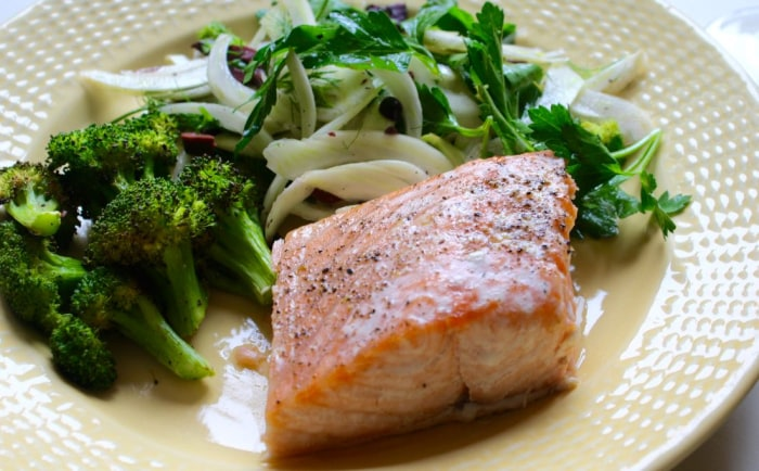Roast salmon with fennel and olive salad