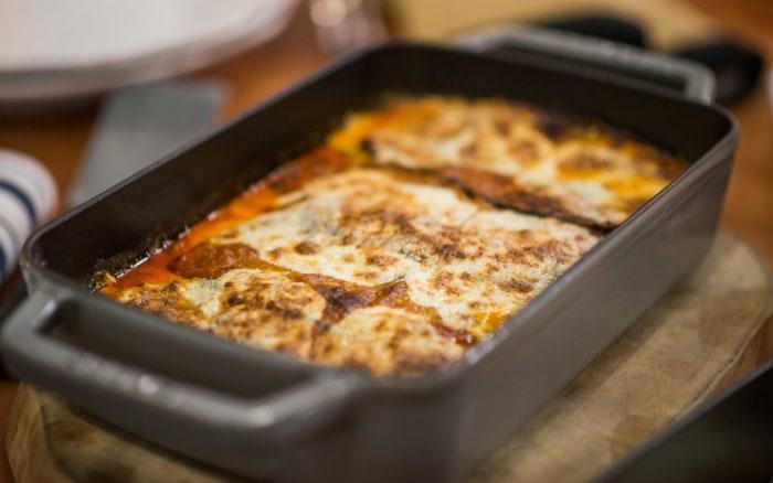 Laura Vitale makes eggplant parmesan.