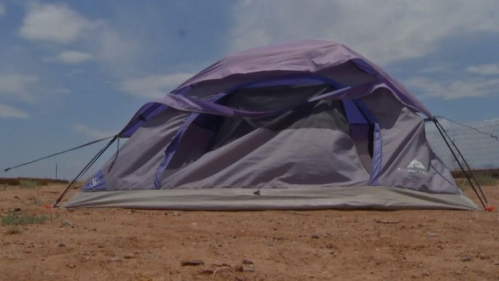 Adam Boggus, 16, has been calling this tent home during daytime hours.
