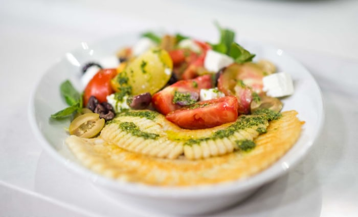 Ariane Duarte makes a summery skate salad with tomatoes and pesto.