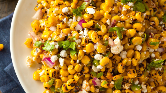 Smoky Chipotle Grilled Corn Salad with Feta and Tomatillo