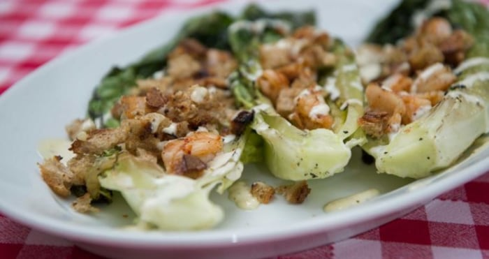 Grilled romaine shrimp Caesar
