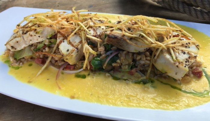 Grilled swordfish with farro and pepper coulis