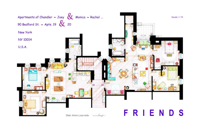 Artist draws beautiful floor plans of famous tv show homes for Large apartment floor plans