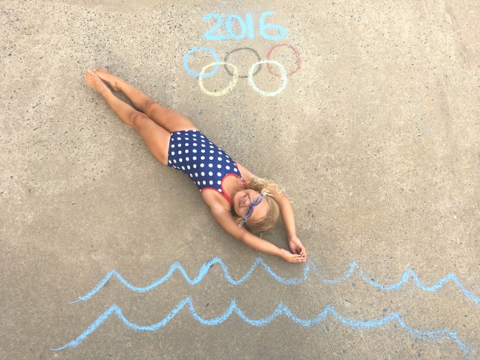 A perfect dive! Create this Olympic action shot with sidewalk chalk and your future Olympian.