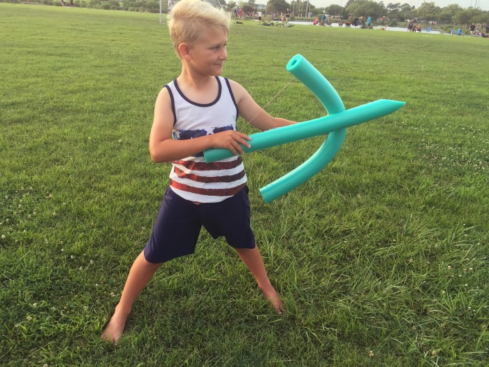 Make a bow and arrow out of a pool noodle and some string in just a few minutes.