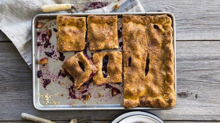 Peach-Blueberry Slab Pie with Sweet Almond Crust