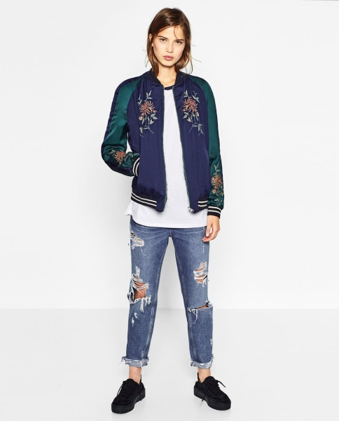 Zara blue combination bomber jacket – Jackets photo blog