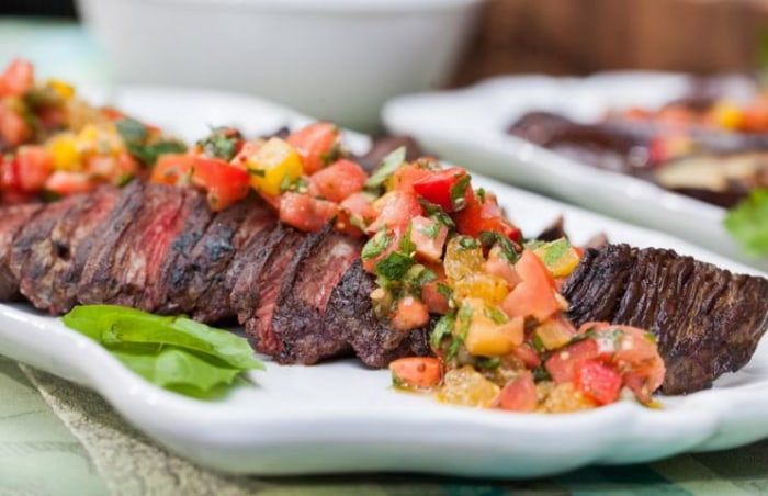 Hanger steak with tomato salsa