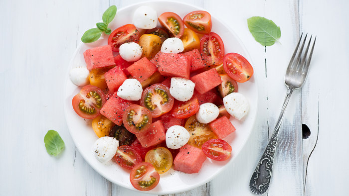 Heirloom Tomato & Watermelon Salad with Buffalo Mozzarella