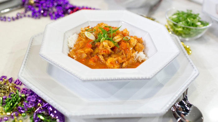Isaac Toups whips up a Cajun crawfish étouffée and King cake to celebrate Mardis Gras