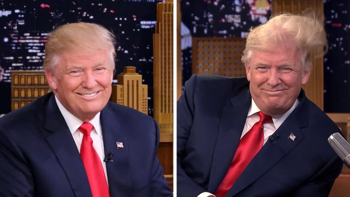 Donald Trump lets Jimmy Fallon wreck his hair on 'Tonight Show ...