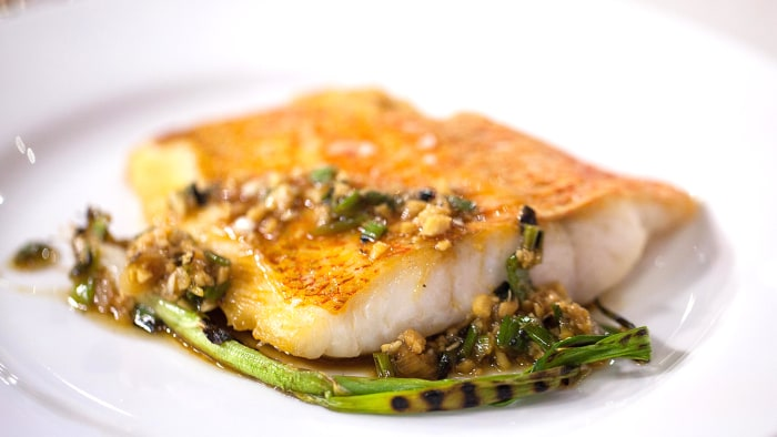 Gavin Kaysen's Snapper with Charred Scallion Vinaigrette