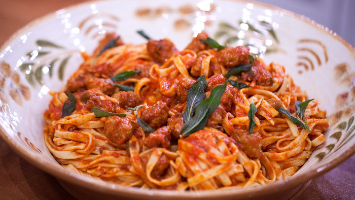 John Alberti's Pasta with Italian Sausage, Tomato Sauce and Crispy Sage
