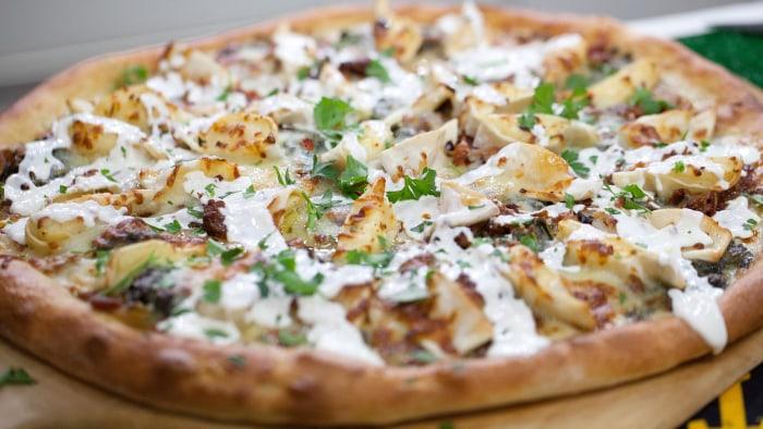 Sunny's Creamy Spinach Pierogi Pizza