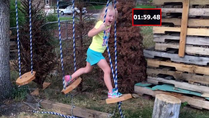 Dad builds daughter epic 'ninja warrior obstacle