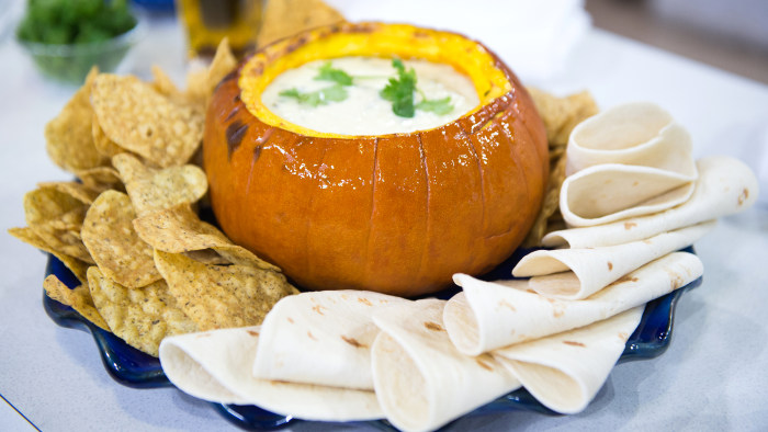 Queso Fundido (Melted Cheese) in a Pumpkin