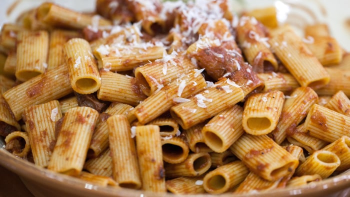 Anthony  Bordain's Sunday Gravy with Sausage and Rigatoni