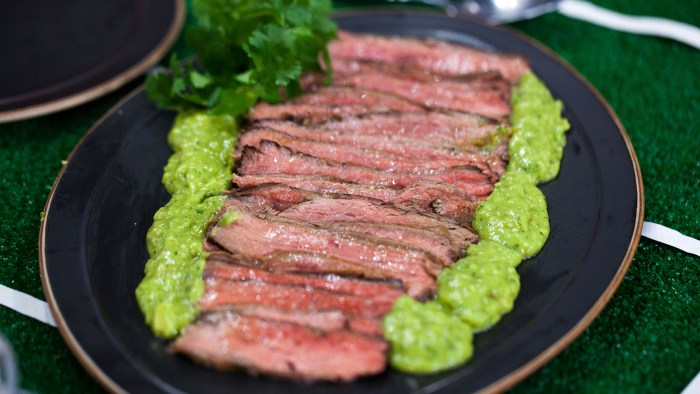 Serena Wolf's Healthy football party food: Juicy flank steak, crispy oven fries