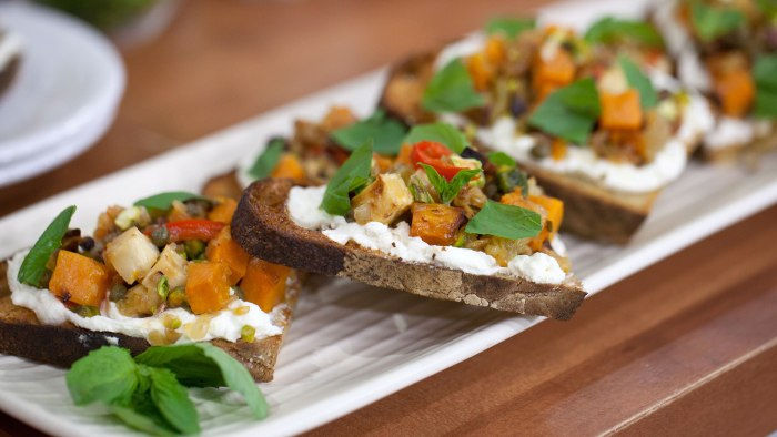 Stephanie Izard's Root Vegetable and Feta Bruschetta