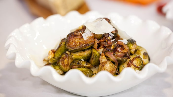 Lidia's Sauteed Brussels Sprouts with Walnuts and Bacon