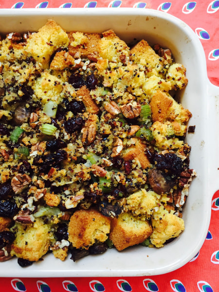 Quinoa cornbread cranberry stuffing