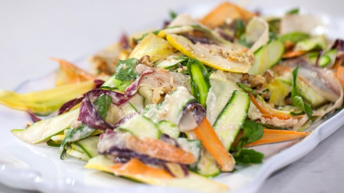 Squash extravaganza: Thanksgiving recipes for summer and winter squash.Tim Love - Shaved Vegetable Salad.TODAY, November 14th 2016.