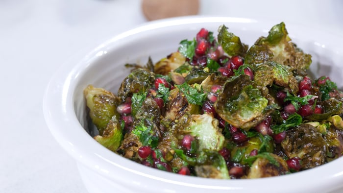 Bobby Flay's Brussels Sprouts with Pomegranates and Pistachios