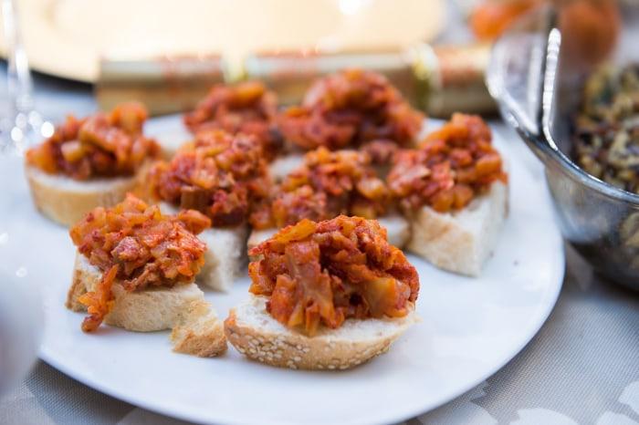 Deuki Hong's Carmelized Apple-Bacon Kimchi Spread with Sesame Toast on Today Show, November 23, 2016