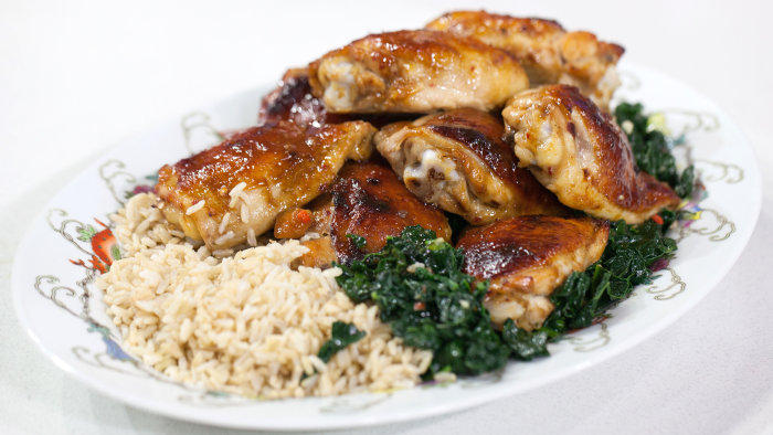 Ching He Huang's Honey-Hoisin Chicken Thighs with Stir-Fried Kale ...