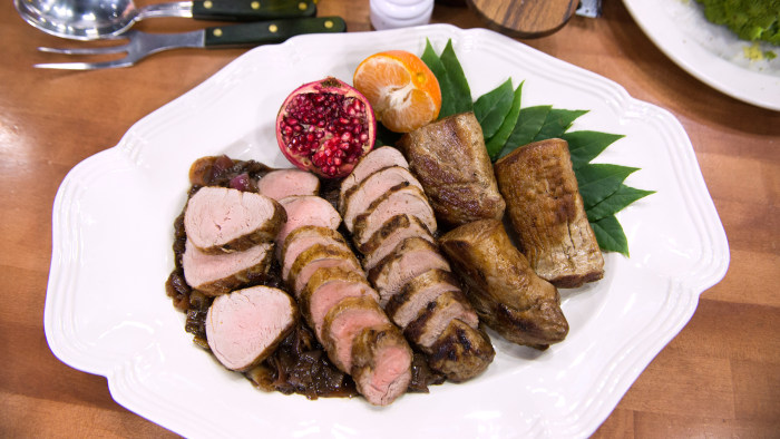 Lidia Bastianich's Pork Tenderloin with Balsamic Onions