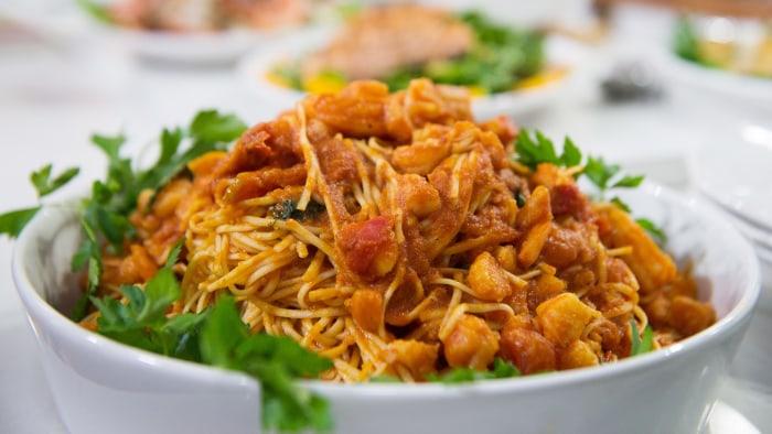 Tagliolini with Shrimp Fra Diavolo