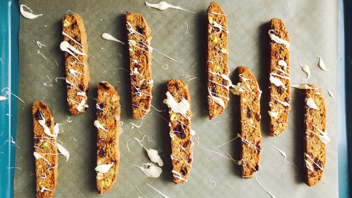 Cranberry-Pistachio Biscotti with White Chocolate Drizzle