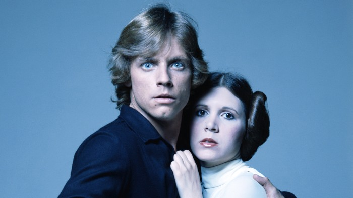 Getty Images       Mark Hamill and Carrie Fisher ias brother and sister Luke Skywalker and Princess Leia in George Lucas&#x27