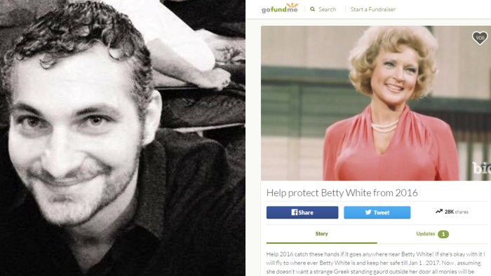 Man launches GoFundMe page to 'protect Betty White from 2016'