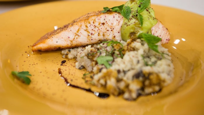 Katie Couric's favorite healthy recipes: Grilled salmon and cauliflower risotto
