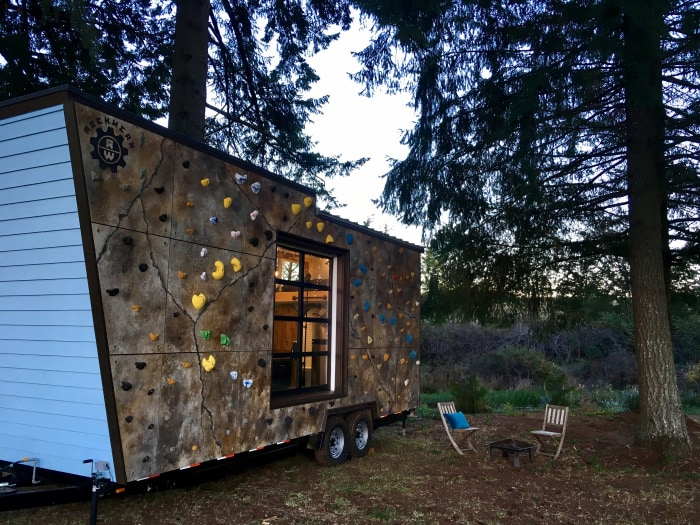 tiny house with rock climbing wall. Black Bedroom Furniture Sets. Home Design Ideas