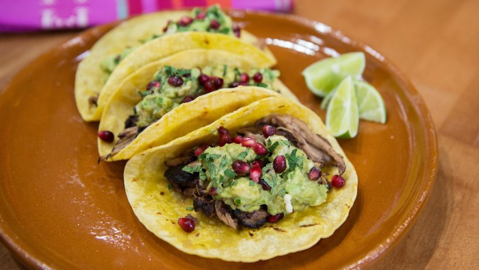 Pomegranate Pork Tacos with Guacamole and Queso Fresco