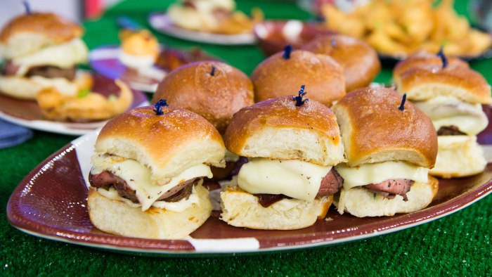 Will Gilson's roast beef and burger sliders and lobster rangoon. February 3, 2017.
