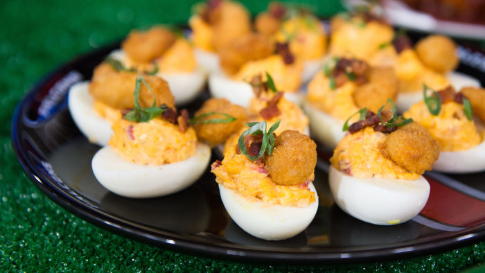 Jennifer Hill Booker's pimento cheese deviled eggs and BBQ cola chicken skewers. February 3, 2017.