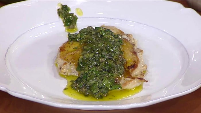 Brian Malarkey's crispy chicken breasts and pan-seared salmon with kale