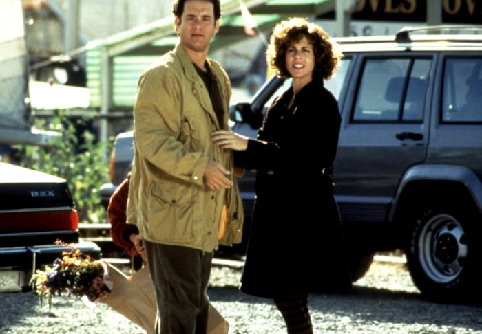 The couple on the set of the 1993 film, Sleepless in Seattle