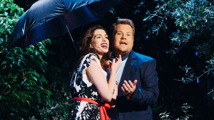 Watch James Corden and Anne Hathaway's Epic Rom-Com Soundtrack