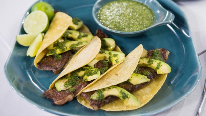 Grilled Beef Strips with Mint and Cilantro Salsa Verde