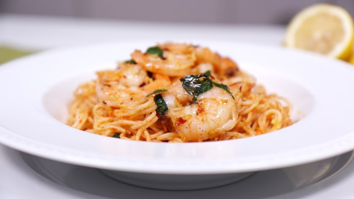Shrimp and Angel Hair Pasta Cooked in a Foil Packet