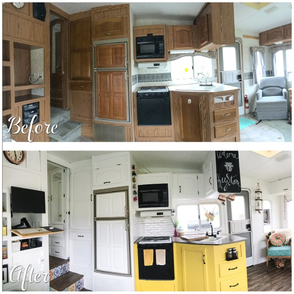 Rv home makeover see the before and after for Camper trailer kitchen designs