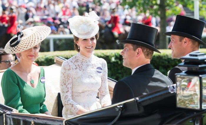 WireImage  	 The Duchess of Cambridge next to Sophie Countess of Wessex arrive Tuesday at the Ascot Racecourse