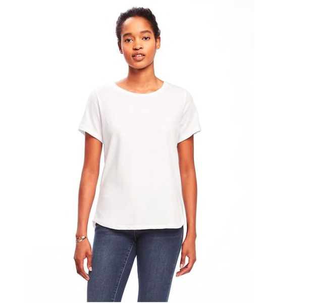 Old navy 39 s stain resistant white jeans do they really for Denim shirt women old navy