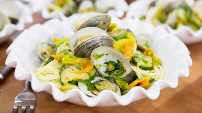 Lidia Bastinanich's Spaghetti with Clams and Zucchini