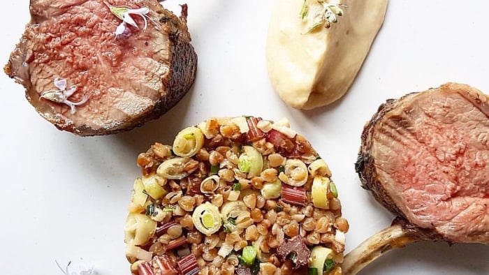 Lamb Chops with Warm Buckwheat Salad and Tzatziki